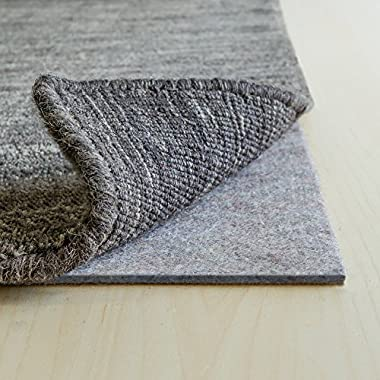 RUGPADUSA EXTH-710 Basics 100% Felt Rug Pad, 1/3  Thick Made in The USA, Safe for All Floors and Finishes, 7' x 10', Grey
