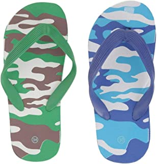Yellow Bee Camouflage Slippers for Boys - 2 Pairs, Green and Blue