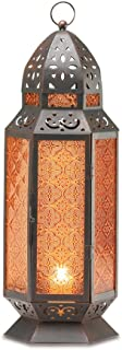 2 Large Glass Tall Moroccan Lanterns Candle Holder [Misc.]