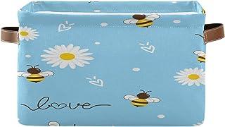 Tropicallife F17 Panier de rangement pliable en toile avec poignée Motif abeille et marguerite