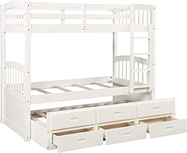 Bunk Bed with Trundle and Drawers,JULYFOX Children Bunk Bed Frame Twin Over Twin Wood with Ladder Full Length Side Guard Rails No Box Spring Needed for Juniors Teens Kids Small Spaces-White