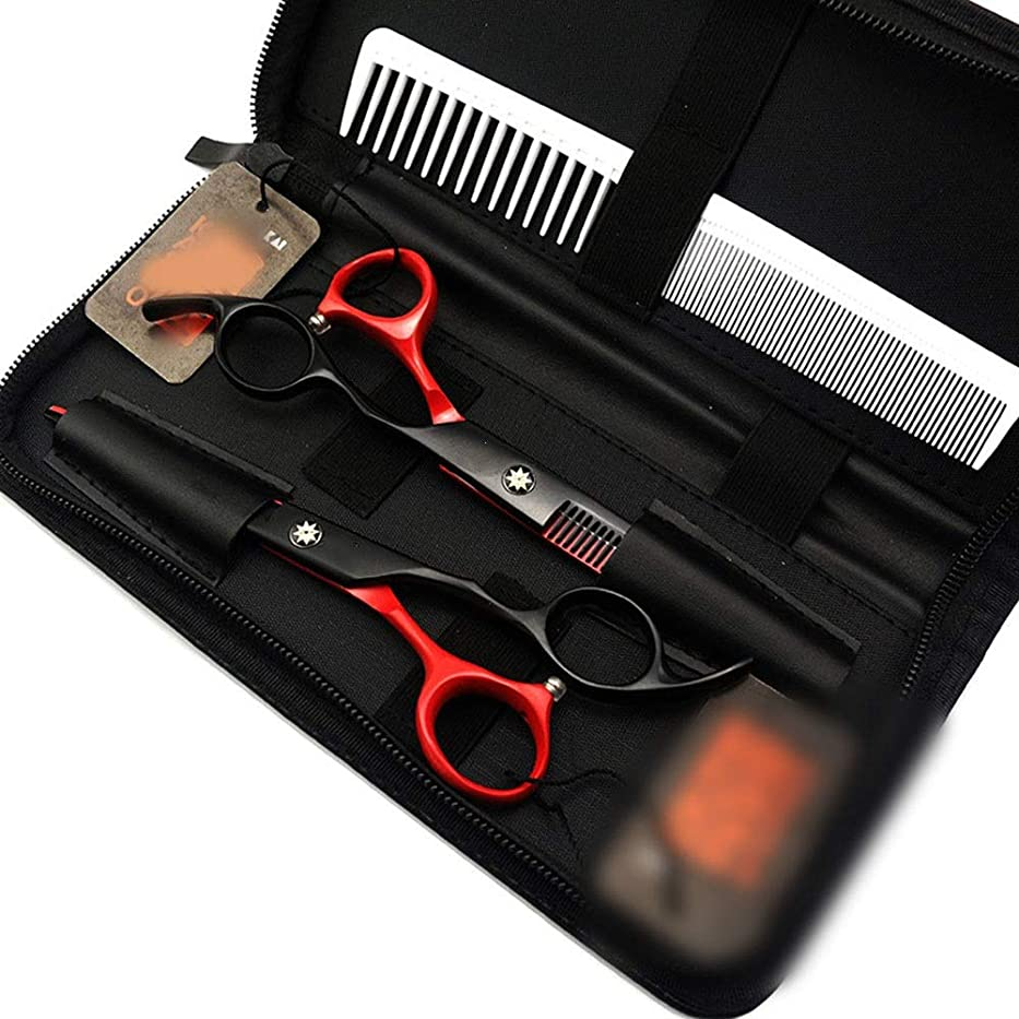 消去自動化郊外カットハサミ ヘアスタイリングツール 6.0インチの黒く赤く平らな+歯はさみセット、専門の理髪はさみ用具 ヘアカットシザー (色 : Black red)