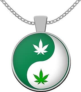 sarothdesignstore Weed Lovers Necklace - Cannabis Leaf Yin Yang Pendant - Marijuana Stoner 420 Gifts - Ganja Accessories