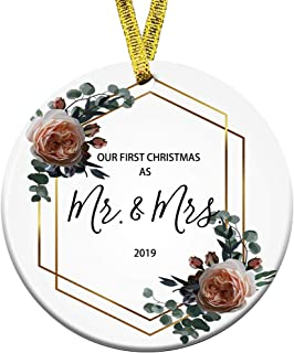 Kooer Our First Christmas as Mr & Mrs Ornament Wedding Ornament Newlywed Gift Wedding Shower Gift Just Married Gift (Mr & Mrs)