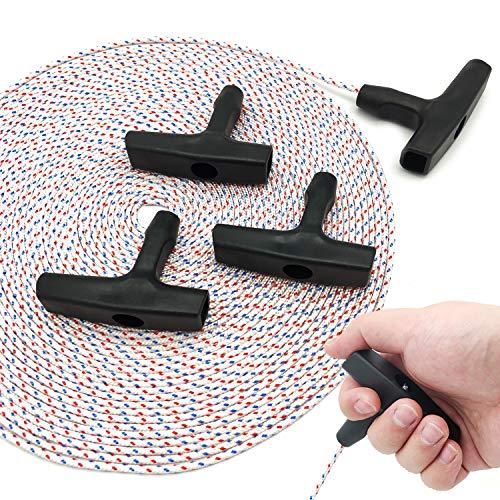 Cuerda de arranque de retroceso, 15 metros, 3 mm, con 4 unidades de mango de arranque para cortacésped, motosierra, cortadora de cortadora de césped, piezas de motor (cuerda de color)