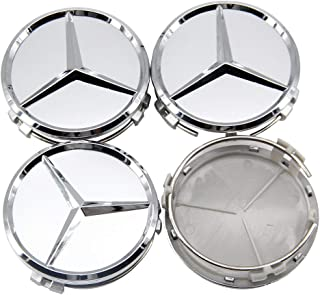 4x PC FOR Mercedes  Wheel Center Caps Mirror Silver AMG Logo Hubcaps 75MM