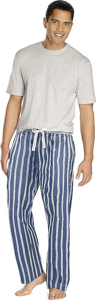 Hanes Men's Big and Tall Tee and Woven Pajama Pants Set