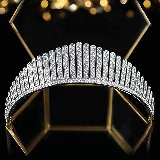 Jorsnovs Cubic Zirconia Queen Elizabeth Crowns CZ Wedding Bridal Tiaras Women Girls Party Prom Headpieces Quinceanera Hair...