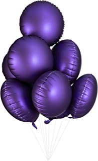 WEVEN Metallic Purple Round-Shaped Mylar Balloons 17 Inches Foil Helium Balloons for Party Decorations, Pack of 50