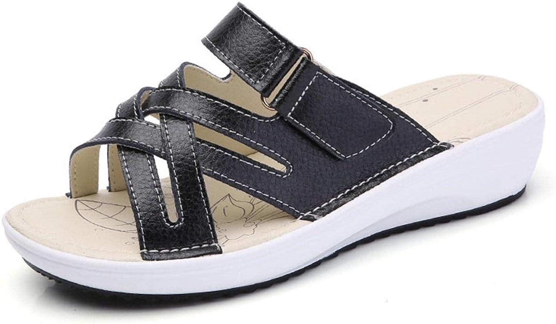 T-JULY Women's Open Toe Slide Sandals Slip-on Casual Walking Wedges Summer Beach Slippers