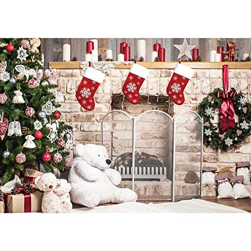 Haboke 7x5ft Soft Fabric Christmas Fireplace Backdrops for Photography Xmas Tree Sock Gift Decorations for Family Party Photo Background Pictures Decor Photobooth Props