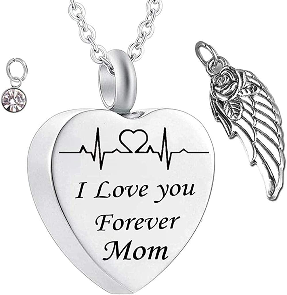 AEGW Memorial Jewelry Cremation Jewelry Urn Stainless Steel Chain Band Pendant Grey Jewelry Chain Heart and Wing Birthstone I Love You Forever Mom Souvenir Pendant-April