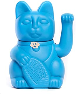 Gato de la Suerte. Lucky Cat. Maneki Neko. COLOR AZUL PITUFO 10x6x15cm
