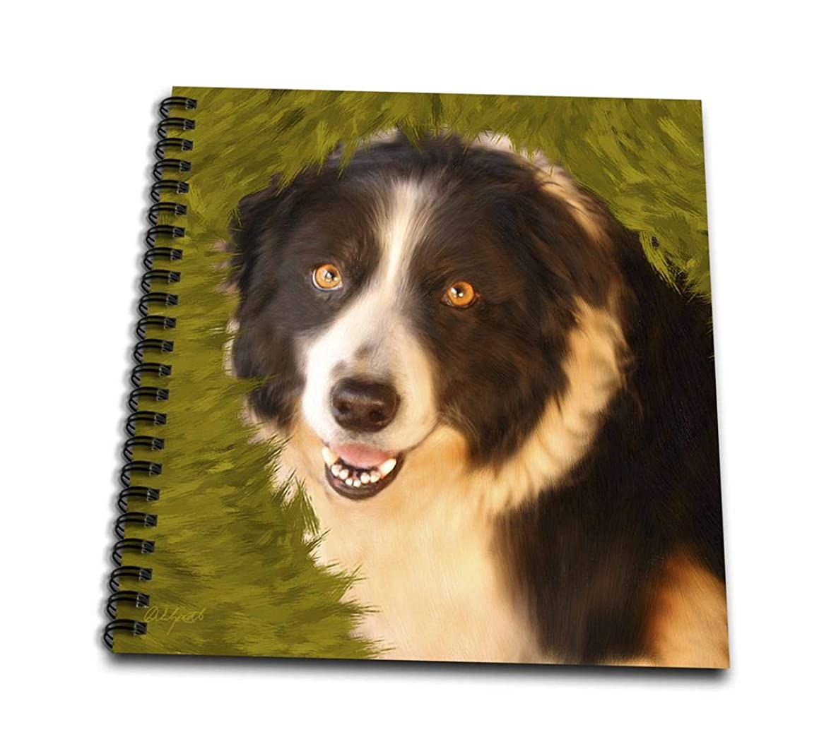 3dRose db_11977_1 Border Collie-Drawing Book, 8 by 8-Inch