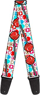 Buckle-Down 2 Inches Wide Guitar Strap - Lollipop Hearts White (GS-W31226)