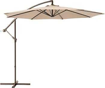 Ralawen 10 Ft Patio Umbrella with Crank & Cross Base