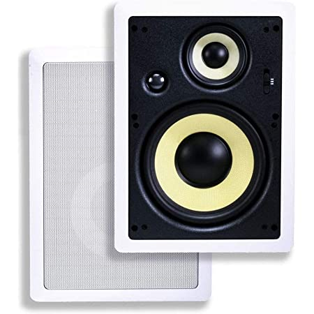Monoprice 3-Way Fiber In-Wall Speakers - 8 Inch (Pair) With Removable And Paintable Grille - Caliber Series