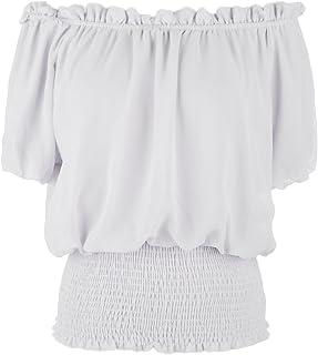85f54ae4ba5 Anna-Kaci Womens Short Sleeve Ruffle Stretch Off Shoulder Boho Blouse Top