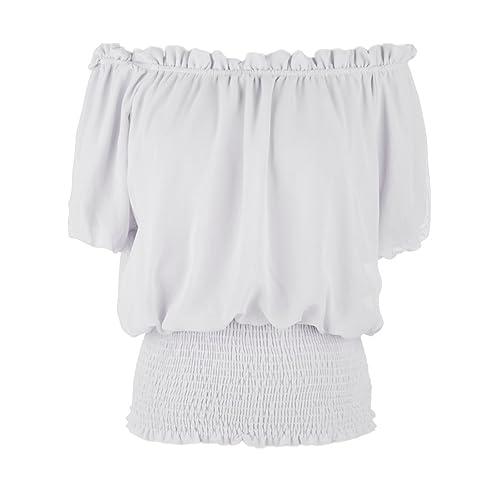 f0c385160a Anna-Kaci Womens Short Sleeve Ruffle Stretch Off Shoulder Boho Blouse Top