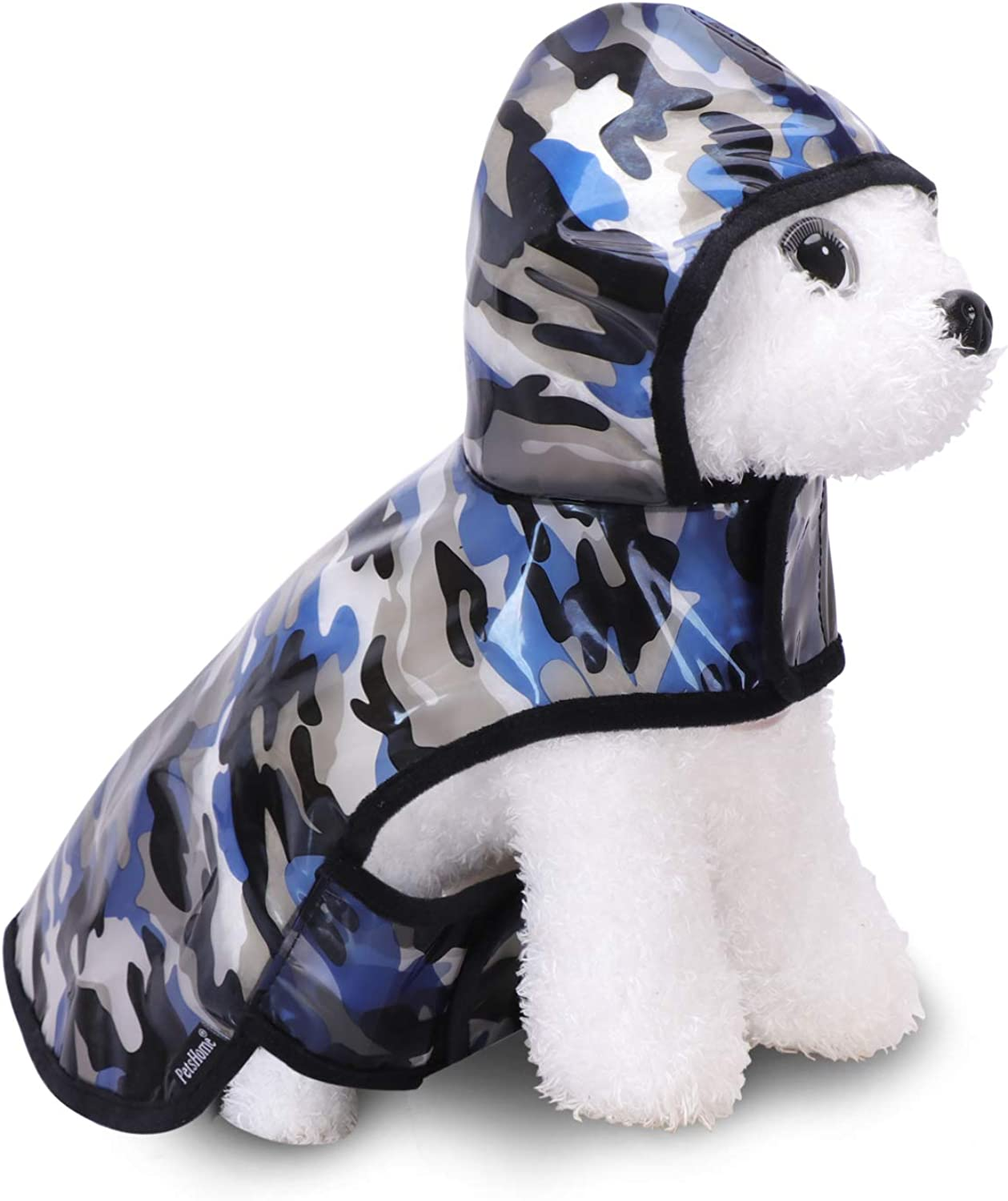 PetsHome Dog Raincoat, Cat Raincoat, Fashion Waterproof Lightweight Puppy Rain Jacket for Small Dog and Cat Small Camouflage bluee