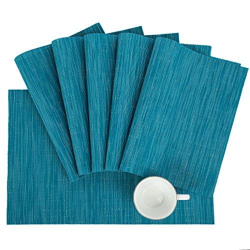 Pauwer Placemats Set of 6 Crossweave Woven Vinyl Placemat for Kitchen Table Heat Resistant Non-Slip Kitchen Table Mats Easy to Clean (6pcs Placemats, Blue)
