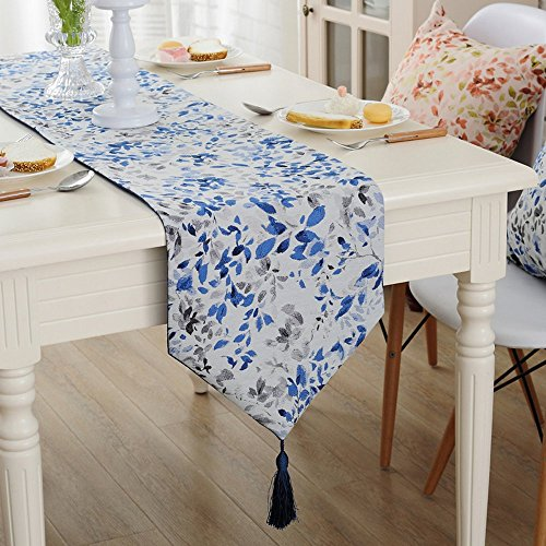 Chemin de table avec pompon Vintage Jacquard feuilles Chemin de table Nappe pour décoration de table, bleu foncé, 32x200cm