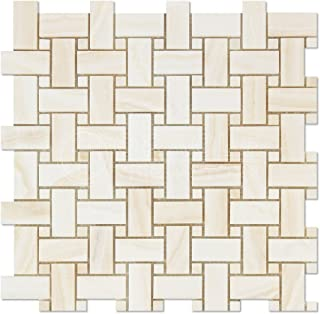 White Onyx Basketweave Mosaic Tile with White Onyx Dots, Vein-Cut, Polished - Box of 5 Sheets