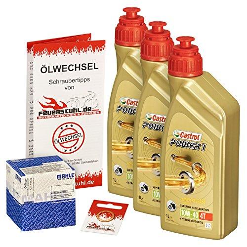 Castrol 10W-40 Öl + Mahle Ölfilter für Yamaha XT 600 /E/K, 87-03, 2KF 2NF 3TB 3UW DJ02 - Ölwechselset inkl. Motoröl, Filter, Dichtring