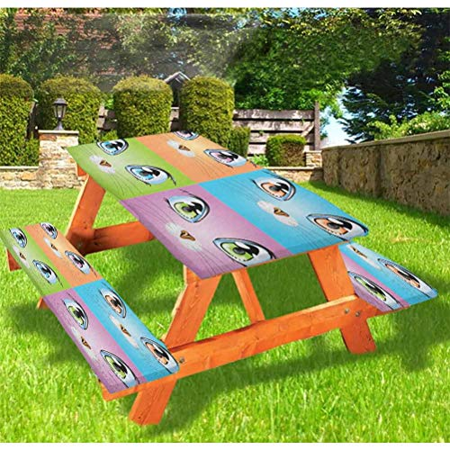 72 Inch Polyester Picnic Table and Bench Fitted Tablecloth Cover,Colorful Big Cat Eye Images with Whiskers Loyal Life Companions Art 3-Piece Set Tablecloth for Folding Table,Orange Green Purple Blue