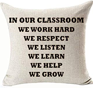 FaceYee Classroom Pillows Covers in Our Classroom Teacher Back to School Pillowcase 18x18 Gifts Classroom School Decor Square Linen Two Side Invisibe Zipper Color:1
