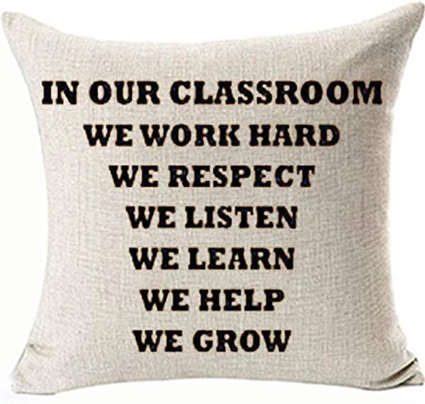 FaceYee Classroom Pillows Covers In Our Classroom Teacher Back To School Pillowcase 18x18 Gifts Classroom School Decor Square Linen Two Side Invisibe Zipper Color 1
