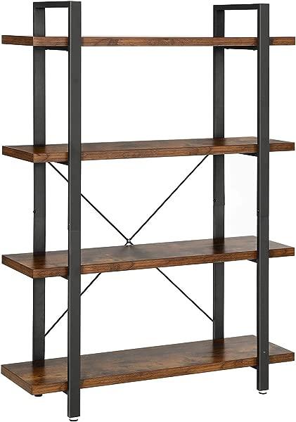 VASAGLE Industrial Bookshelf 4 Layer Stable Bookcase Storage Rack Standing Shelf Easy Assembly Living Room Bedroom Office Rustic Brown ULLS54BX