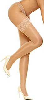 Thigh High Stockings Sheer Lace Silicone Stay Up Hosiery Tights Nylon Pantyhose for Women