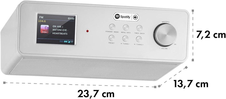 2,4 Zoll-Farbdisplay, WiFi, DAB+, UKW, RDS, AUX, Eieruhr, Uhr-und Datumanzeige wei/ß-Silber auna KR-200 Unterbau-K/üchenradio Internetradio WLAN Radio mit Fernbedienung