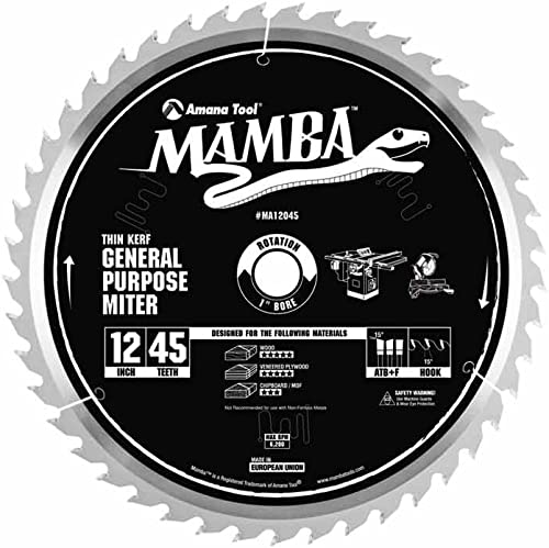 high quality Amana high quality Tool Mamba Series MA12045 General Purpose Miter 12-Inch x 45 Tooth x online ATB+F Grind 1-Inch Bore Saw Blade online