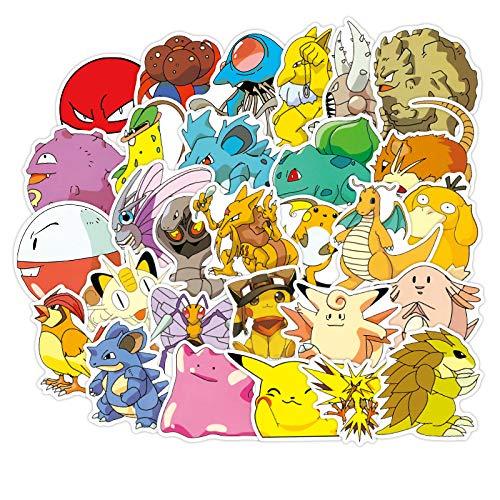 RUIRUI 160 piezas Pokemon maleta pegatina Pikachu maravillosa rana semilla de dibujos animados maleta pegatina impermeable