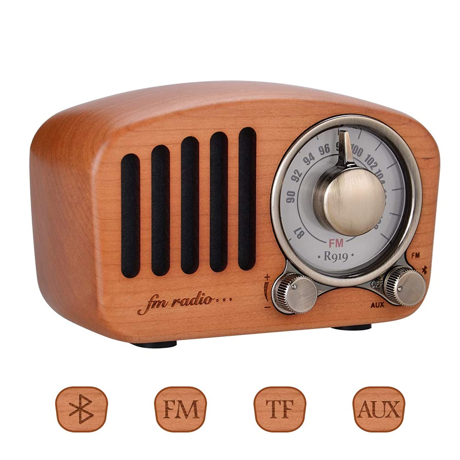 Qoosea Retro Radio Portable Radio FM Radio with Bluetooth Speaker Vintage Radio Handmade Retro Mahogany with Stereo Sound Bluetooth Mini Speaker 3.5mm Audio Input Jack and TF Card Ports