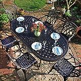 Lazy Susan - Catherine 210 x 105 cm Ovaler Gartentisch mit 6 Stühlen - Gartenmöbel Set aus Metall, Antik Bronze (April Stühle, Beige Kissen)
