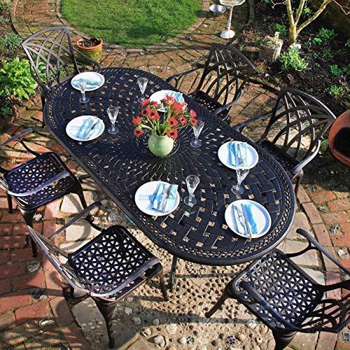 Lazy Susan - Catherine 210 x 105 cm Ovaler Gartentisch mit 6 Stühlen - Gartenmöbel Set aus Metall, Antik Bronze (April Stühle)