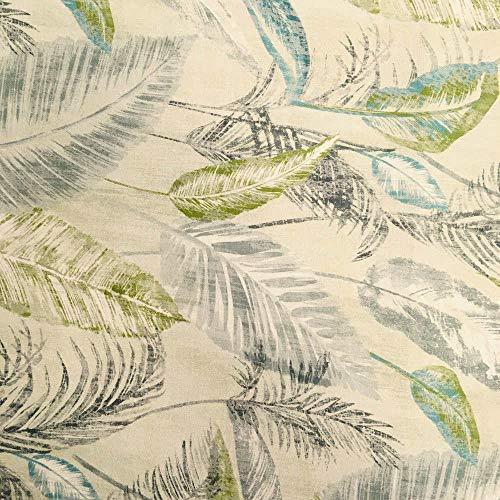 Tela por metros de loneta estampada digital - Half Panamá 100% algodón - Ancho 280 cm - Largo a elección de 50 en 50 cm | Plantas tropicales - Verde