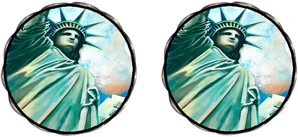 Bronze Retro Style United States The Statue of Liberty Clip On Earrings Flower Earrings #12