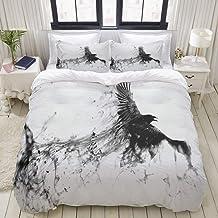 HKIDOYH Duvet Cover Set,Bird Flying Black Raven Background,Comforter Set Ultra Soft Microfiber Floral Print Bedding,Double