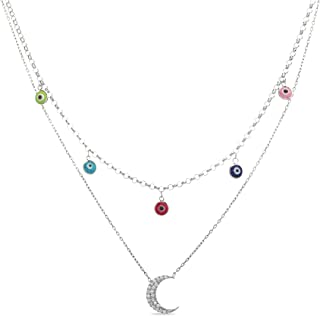 Devin Rose Sterling Silver Dangling Stations Double Layer Evil Eye Necklace for Women (Various Styles)