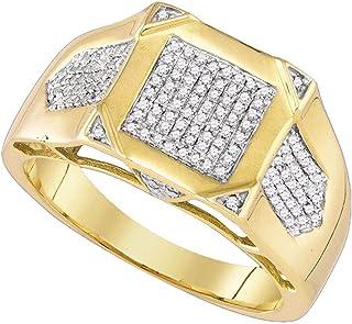 FB جواهر الذهب الأصفر 10kt رجل جولة الماس مربع العنقودية الدائري 3/8 Cttw