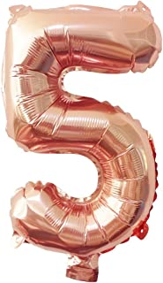 Glanzzeit® 16 Inch Rose Gold Balloons Letter A to Z Number 0 to 9 Foil Balloons for Wedding Prom Birthday Party Baby Shower Christmas Decor (Number 5)