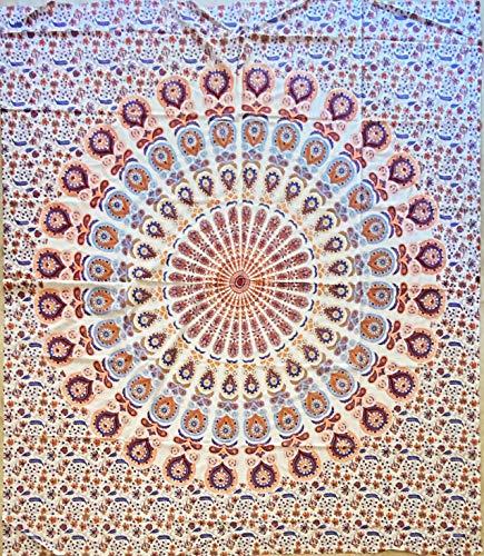 etnico Telo arredo Disegno Mandala Sfondo Bianco 210 x 220 cm Circa Hippie Om Indiano Made in India colorato Spiaggia Copri Divano (Blu)