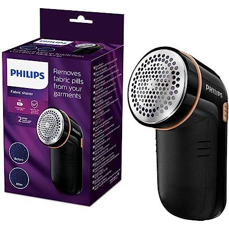 Philips Levapelucchi GC026/80, Alimentazione a Batteria, Contenitore Pelucchi Removibile, spazzolina per la Pulizia, Nero/Oro