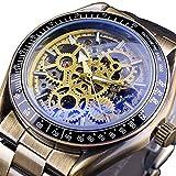 Excellent Reloj de Esqueleto para Hombre Relojes de Pulsera de Esqueleto mecánico automático Dial Hueco Estilo Retro de Bronce con Banda de Acero Inoxidable,Amarillo