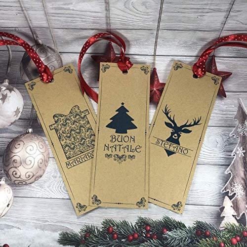 3 segnalibri natalizi personalizzati con nome o frase per regali di Natale segnaposto omaggio fine festa omaggio ai clienti 3 disegni diversi versione normale o plastificata con nastrino coordinato