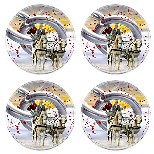 MSD Round Drink Coasters Set of 4 Natural Rubber Design for Winter Snow Cold Horse Nature White Frost Outdoor Transportation Sled Mamma